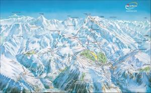 Mapa sjezdovek v L'Alpe d'Huez (Francie, Les Grandes Rousses)