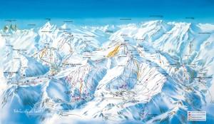 Mapa sjezdovek v Les Bottieres (Les Sybelles, Francie)