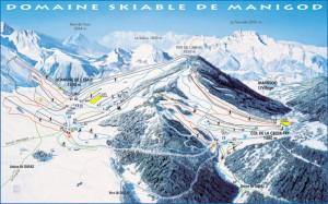 Mapa sjezdovek v Manigod (Les Aravis, Francie)