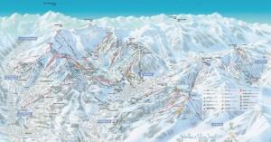Mapa sjezdovek v Megève (Mont Blanc, Francie)