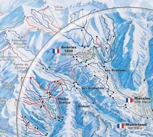 Mapa sjezdovek Montriond (Portes du Soleil, Francie)