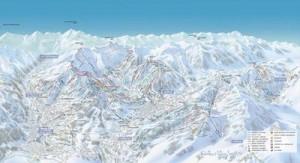Mapa sjezdovek v Saint Nicolas de Véroce (Francie. Mont Blanc)
