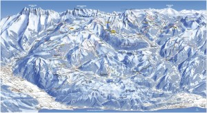 Mapa sjezdovek v Portes du Soleil (Francie a Švýcarsko)