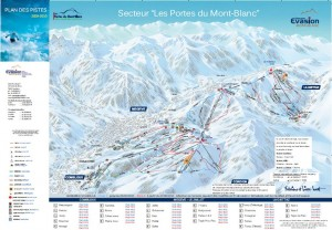 Mapa sjezdovek v Combloux (Francie, Évasion Mont-Blanc)