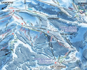 Mapa sjezdovek v Les Carroz (Grand Massif, Francie)
