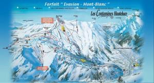 Mapa sjezdovek v Les Contamines Monjoie (Francie, Mont Blanc)