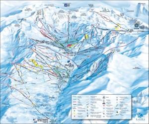 Mapa sjezdovek - Les Menuires (Francie, Tři údolí)