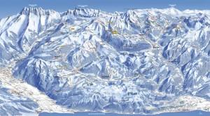 Mapa sjezdovek Abondance (Portes-du-Soleil, Francie, Švýcarsko)