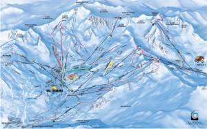 Mapa sjezdovek Val Thorens Orelle (Francie, Tři údolí, Val Thorens)