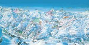 Mapa sjezdovek ve Val d'Isère (Espace Killy, Francie)
