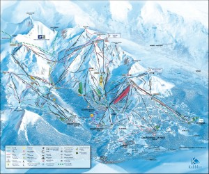 Mapa sjezdovek v zimním středisku Courchevel