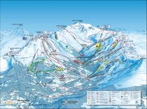 Mapa sjezdovek Brides-les-Bains (areál Méribel, Francie, Tři údolí)