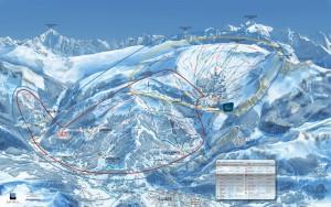 Mapa sjezdovek v Grand Massif (Haute Savoie, Francie)