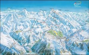 Mapy sjezdovek v Les Grandes Rousses (L'Alpe d'Huez, Francie)