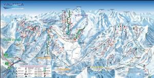Mapy sjezdovek v Via Lattea (Itálie, Francie)